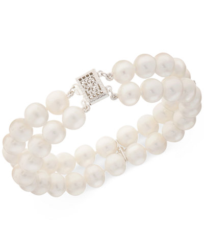 Cultured Freshwater Pearl (8mm) & White Topaz (1/2 ct. t.w.) Bracelet