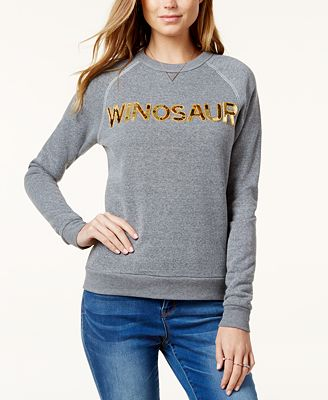 Bow & Drape Winosaur Sequined Graphic Sweatshirt