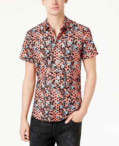 Versace Men's Leopard-Print Shirt