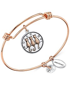 "Two-Tone ""Time Spent With Cats"" Adjustable Bangle Bracelet in Stainless Steel and Rose Gold-Tone Stainless Steel Silver Plated Charms"
