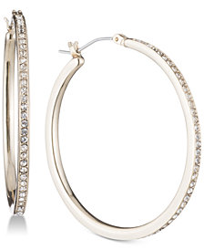 DKNY Gold-Tone Pavé Skinny Hoop Earrings, Created for Macy's