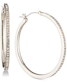 "DKNY Gold-Tone Pavé 1"" Skinny Hoop Earrings, Created for Macy's"