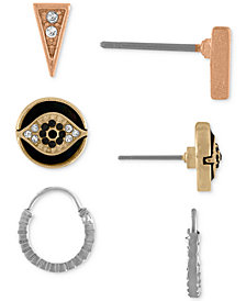 RACHEL Rachel Roy Tri-Tone 3-Pc. Set Pavé Stud & Hoop Earrings