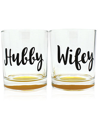 2 Pc. Hubby & Wifey Double Old Fashioned Glasses Set by Tmd Holdings