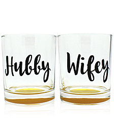 CLOSEOUT! TMD Holdings 2-Pc. Hubby & Wifey Double Old-Fashioned Glasses Set