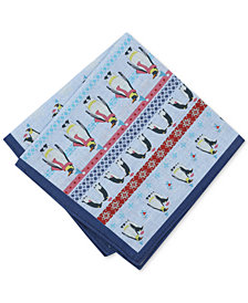 Bar III Men's Fair Isle Penguin-Print Pocket Square, Created for Macy's