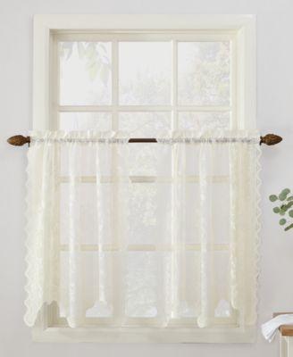 """No. 918 Alison Floral Lace 58"""" x 36"""" Rod-Pocket Kitchen Curtain Tier Pair"""
