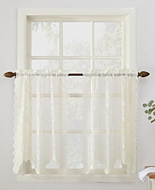 "No. 918 Alison Floral Lace 58"" x 36"" Rod-Pocket Kitchen Curtain Tier Pair"