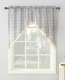 "Lichtenberg No. 918 Maisie Plaid 54"" x 38"" Rod-Pocket Kitchen Curtain Swag Pair"