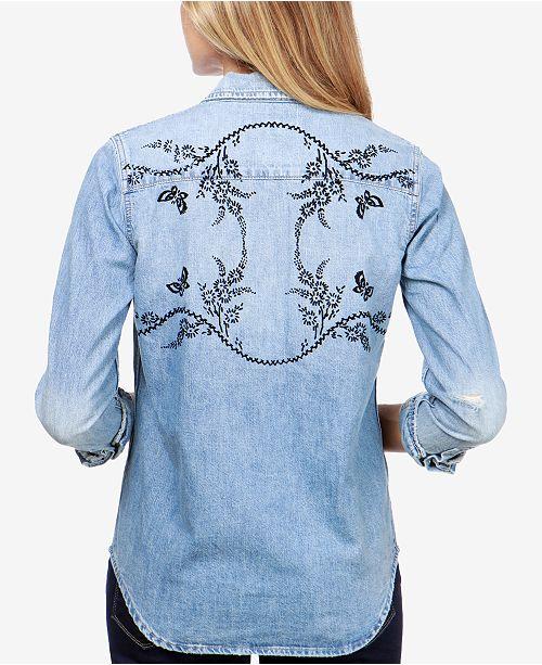 f8f85ada6cd5 Source · Lucky Brand Cotton Denim Western Shirt Tops Women Macy s