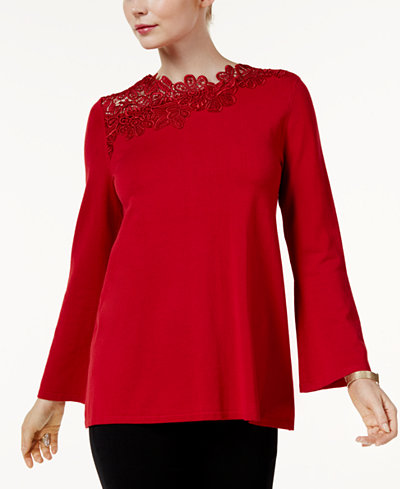Alfani Asymmetrical Lace-Trim Sweater, Created for Macy's