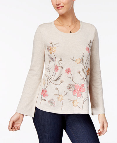Style & Co Embroidered Bell-Sleeve Sweater, Created for Macy's