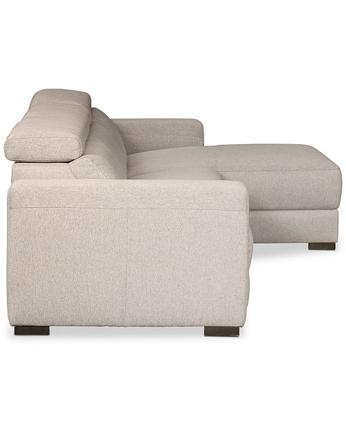 Furniture Nevio 3 Pc Fabric Sectional Sofa With Chaise 2
