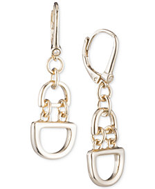 "DKNY Medium Gold-Tone D-Link Chain Drop Earrings, 1"", Created for Macy's"