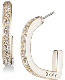 DKNY Pavé D-Hoop Earrings, Created for Macy's