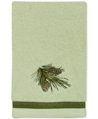 Pinecone Silhouettes Cotton Embroidered Fingertip Towel