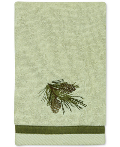 Bacova Pinecone Silhouettes Cotton Embroidered Fingertip Towel
