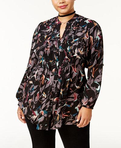 Melissa McCarthy Seven7 Trendy Plus Size Pintucked Blouse