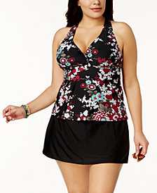 Island Escape Plus Size Zen Gardens Printed H-Back Underwire Tankini Top & Swim Skirt