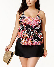 Island Escape Plus Size Zen Gardens Printed Tiered Tankini Top & Swim Skirt