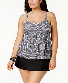 Island Escape Plus Size Diamond Bay Tiered Tankini Top & Tummy-Control High-Waist Swim Skirt, Created for Macy's