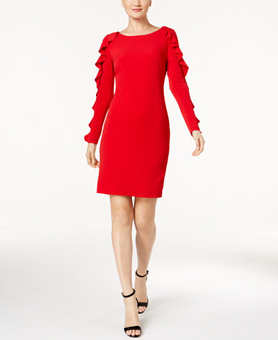 Calvin Klein Ruffled-Sleeve Sheath Dress