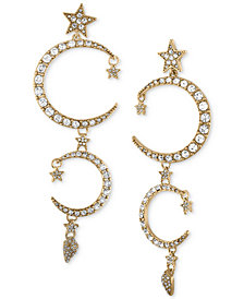 RACHEL Rachel Roy Gold-Tone Pavé Moon & Star Linear Drop Earrings