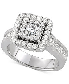 Diamond Square Cluster Engagement Ring (2 ct. t.w.) in 14k White Gold