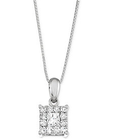 Diamond Square Halo Pendant Necklace (1/2 ct. t.w.) in 14k White Gold