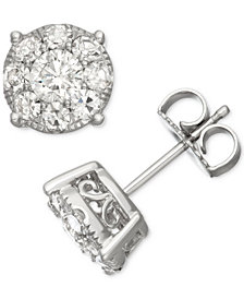 Diamond Halo Stud Earrings (1-1/2 ct. t.w.) in 14k White Gold