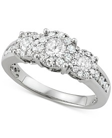 Diamond Triple Cluster Halo Ring (1 ct. t.w.) in 14k White Gold