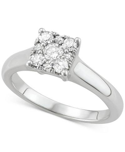 Diamond Square Cluster Diamond Enagement Ring (1/2 ct. t.w.) in 14k White Gold