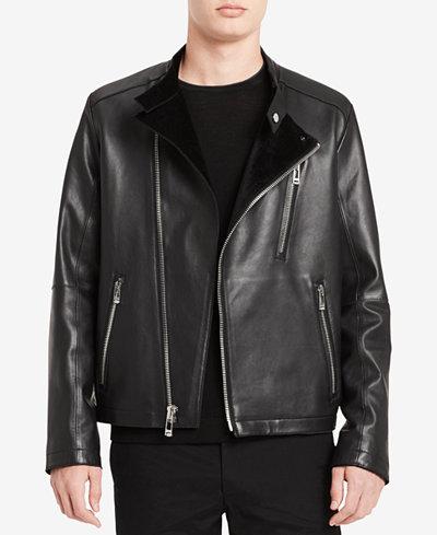 Calvin Klein Men's Classic-Fit Leather Moto Jacket