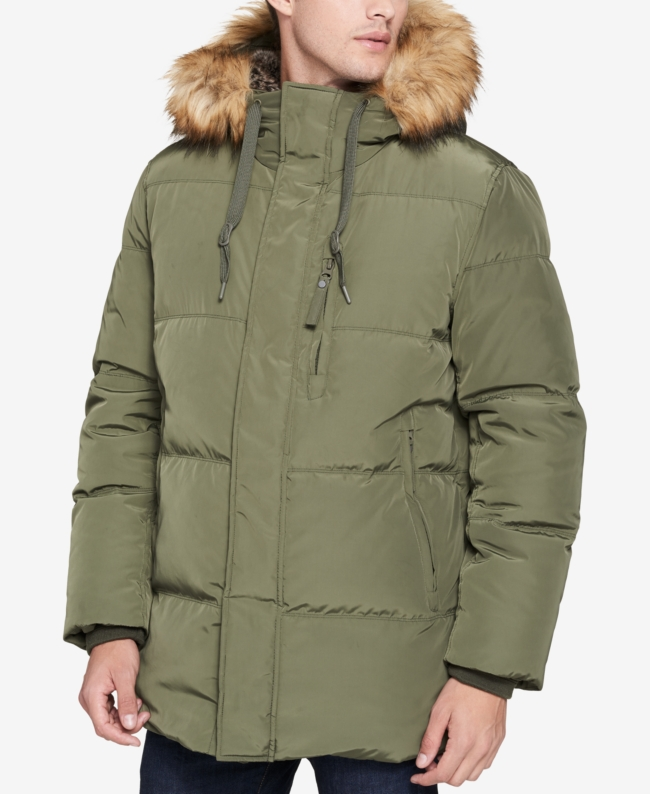 Marc New York Men's Glasnevin Quilted Parka with Faux Fur Lining and Trim | Jacket, Coat and Clothing
