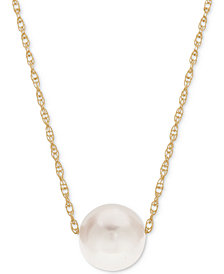 Cultured Freshwater Pearl (8-1/2mm) Choker Necklace in 14k Gold