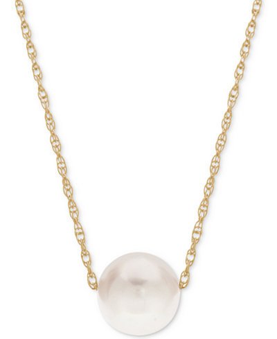 Cultured Freshwater Pearl (8-1/2mm) Pendant Necklace in 14k Gold