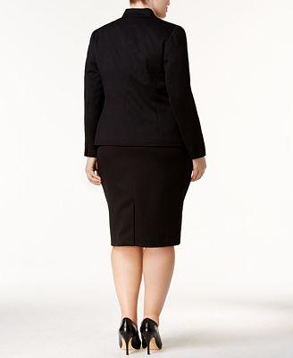 Le Suit Plus Size Three Button Jacquard Skirt Suit Wear To Work