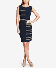 Tommy Hilfiger Metallic Stud-Stripe Sheath Dress