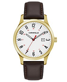 Caravelle Designed by Bulova  Men's Brown Leather Strap Watch 40mm