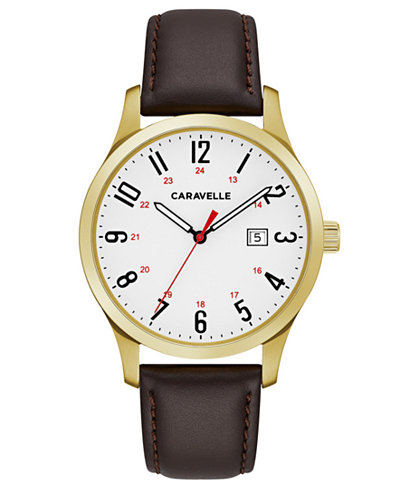 Caravelle Men's Brown Leather Strap Watch 40mm