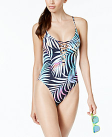 Bar III Tie-Dyed Lace-Up One-Piece High-Leg Swimsuit, Created for Macy's