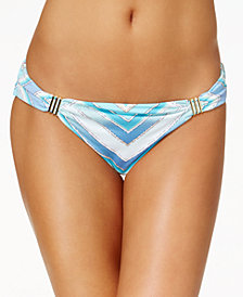 Bar III Hardware-Trim Printed Bikini Bottoms, Created for Macy's