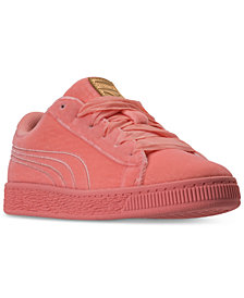 Puma Little Girls' Basket Classic Velour Casual Sneakers from Finish Line
