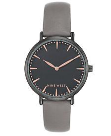 Nine West Women's Gray Faux Leather Strap Watch 43mm