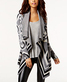 Bar III Jacquard Drape-Front Cardigan, Created for Macy's