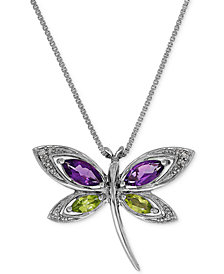 Multi-Gemstone (1 ct. t.w.) & Diamond Accent Dragonfly Pendant Necklace in Sterling Silver
