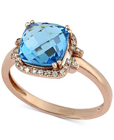 Final Call by EFFY® Blue Topaz (3 ct. t.w.) & Diamond Accent Ring in 14k Rose Gold
