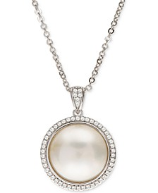 Cultured Mabé Pearl (14mm) & White Topaz (1/4 ct. t.w.) Pendant Necklace in Sterling Silver