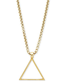 DEGS & SAL Men's Triangle Pendant Necklace in 14k Gold-Plated Sterling Silver