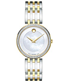 Women's Swiss Esperanza Diamond (1/4 ct. t.w.) Two-Tone PVD Stainless Steel Bracelet Watch 28mm